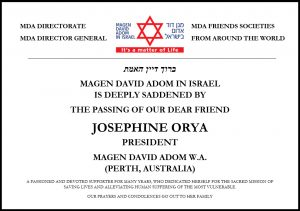 "The Magen David Adom Family Mourns its Dear Friend Josephine Orya Z""L"