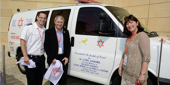 MDA Israel's Ido Golan-Gutin, with MDA NSW President Roland Nagel and Margaret Nagel at the Aarons ambulance's dedication ceremony